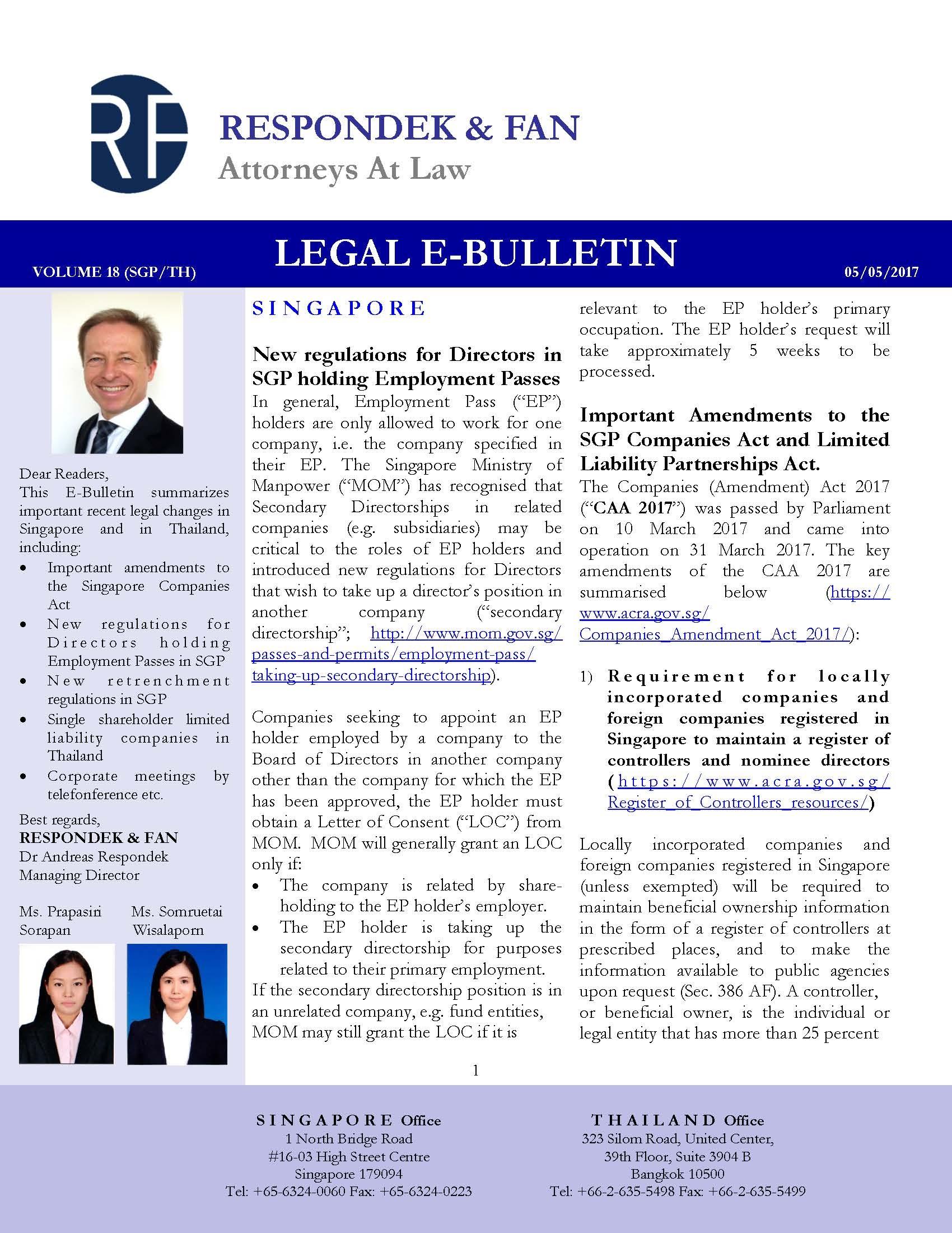 E-Bulletins - PUBLICATIONS - Respondek & Fan
